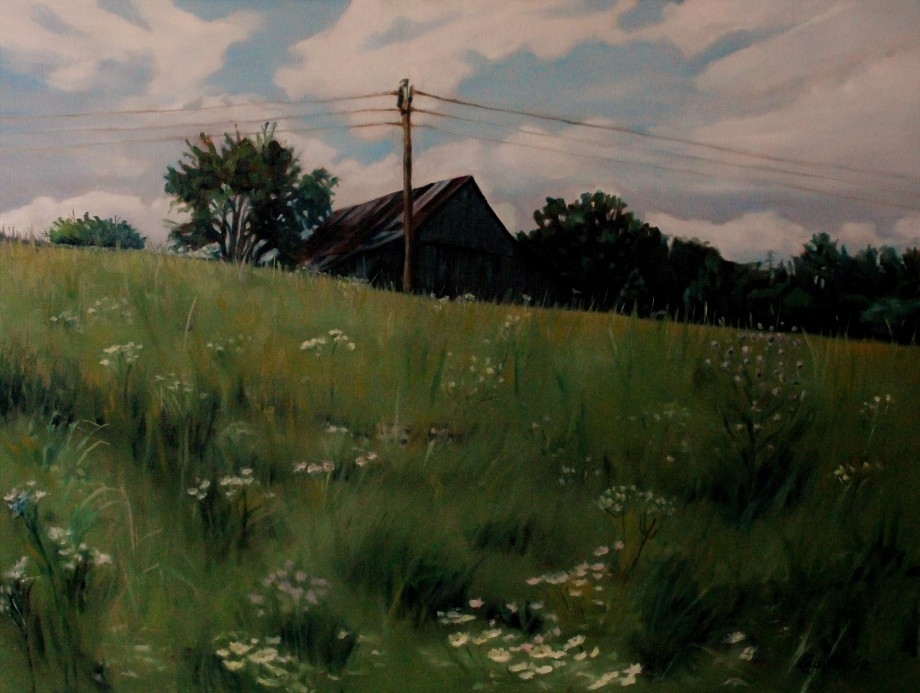 old-barn-barely-standing-30x40-oil-on-canvas-lauler